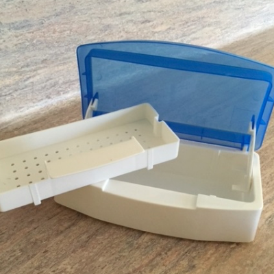 sterilization tray with lid and removable tray for soaking instruments