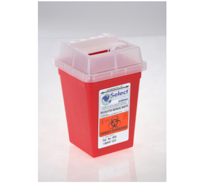 Red dispenser for sharp items and needles