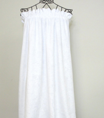 white terry cloth smock with elastic top