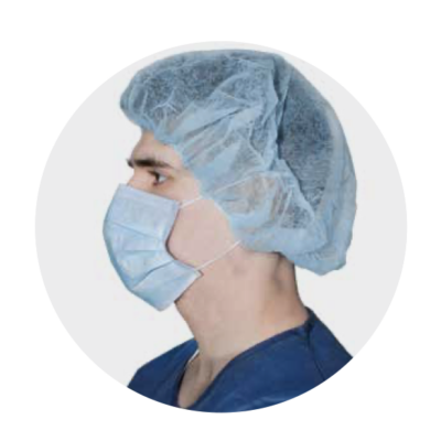 blue bouffant facial cap mask